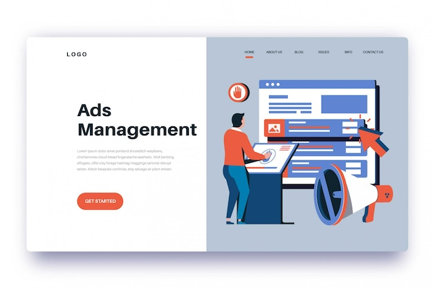 Landing page ads management