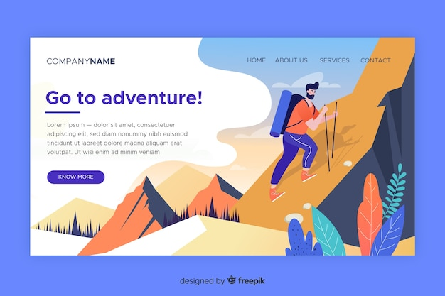 Landing page adventure template