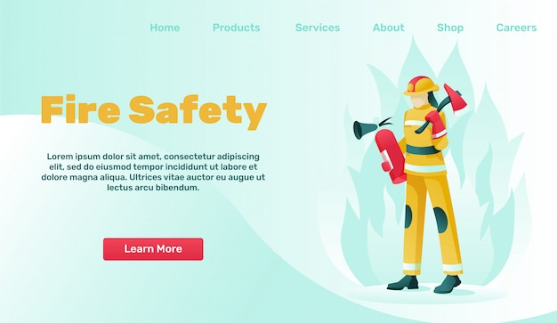 Landing page advertises fire safety and protection