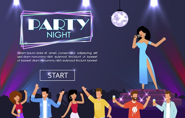Landing page advertising night party with singer