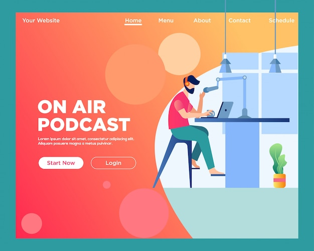 Landing page. on air podcast