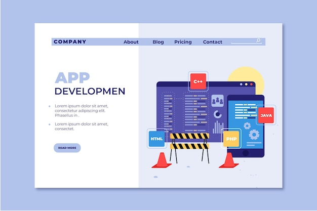 Landing page app development template