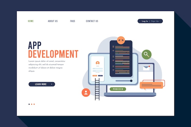 Landing page for application development on different devices