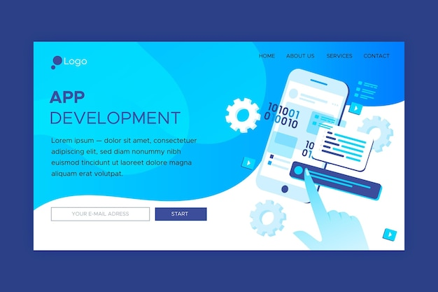 Landing page for application development on different platforms
