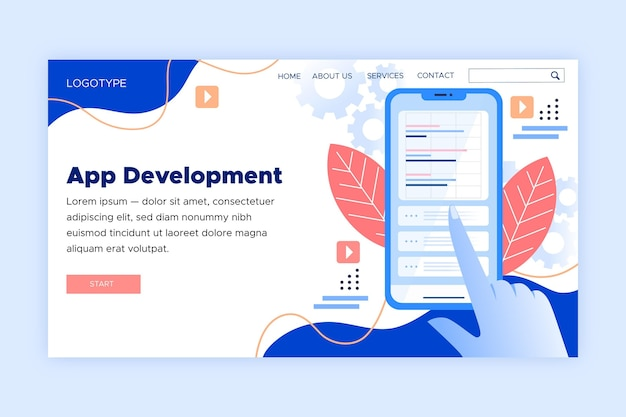 Landing page for application development on smartphone