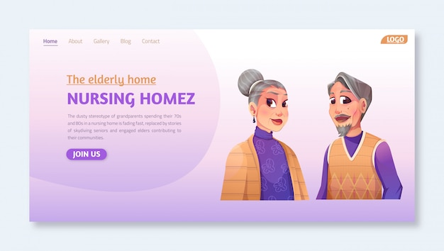 Landing page application themed nursing home (the elderly home) social workers nursery home volunteers taking elderly disabled people