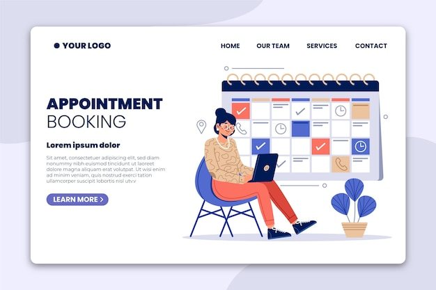 Landing page for appointment bookings illustrated