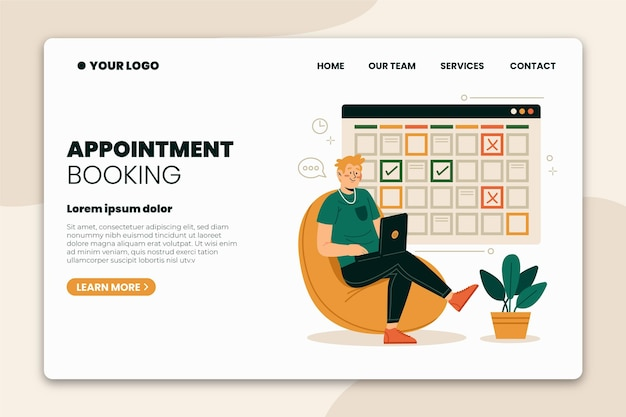 Landing page for appointment bookings