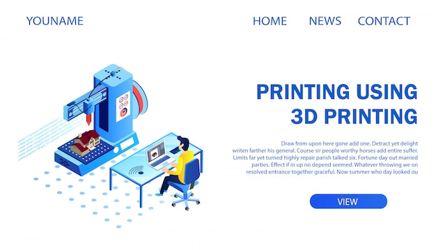 Landing page. architect printing building model using 3d printer