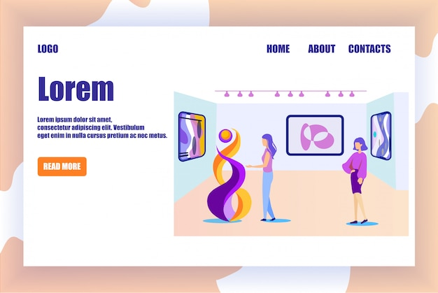 Landing page for art space gallery, museum