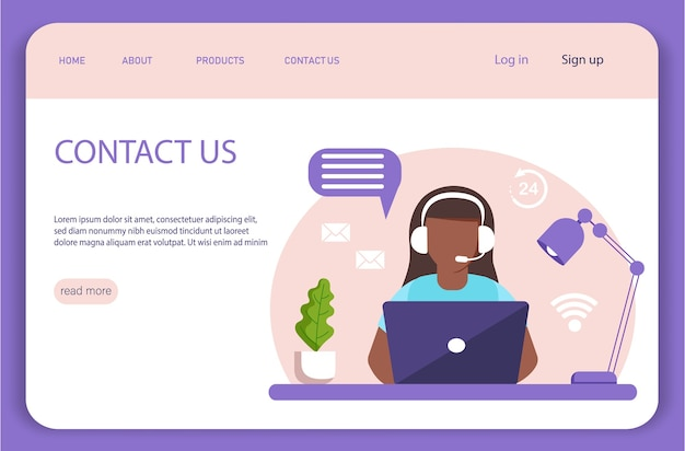 Landing page. assistance, call center. dark skinned girl with headphones and microphone with laptop.