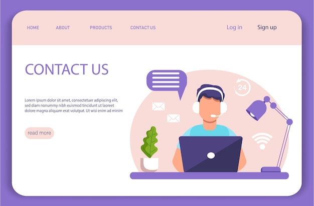 Landing page. assistance, call center. man with headphones and microphone with laptop.