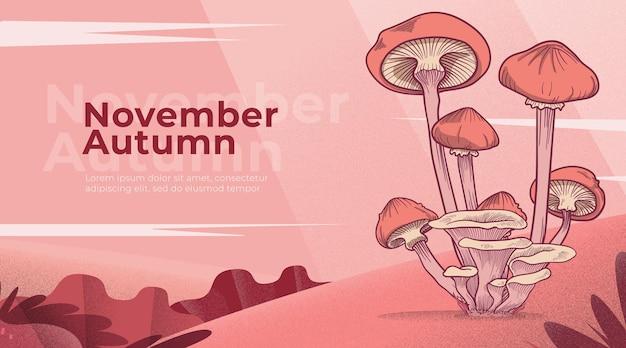 Landing page autumn with mushroom