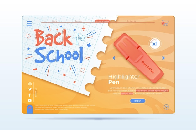 Landing page back to school event