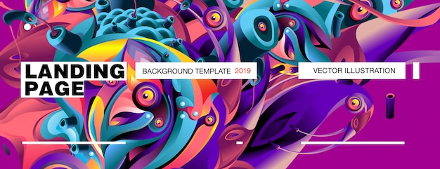 Landing page background template colorful abstract liquid illustration.