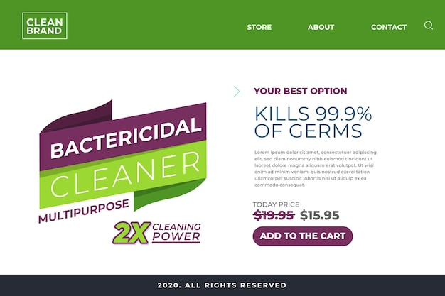 Landing page for bactericidal cleaner