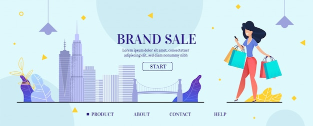 Landing page banner advertising brand sale online