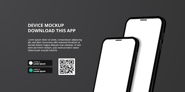 Landing page banner advertising for downloading app for mobile phone, 3d double smartphone device mockup. download buttons with scan qr code template.