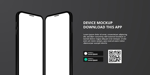 Landing page banner advertising for downloading app for mobile phone, 3d mirror smartphone device mockup. download buttons with scan qr code template.