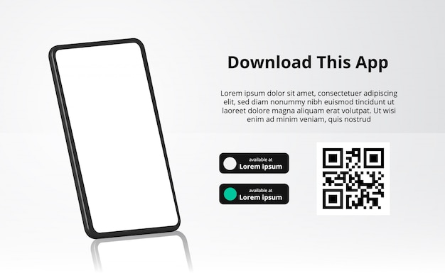 Landing page banner advertising for downloading app for mobile phone, 3d smartphone with reflection. download buttons with scan qr code template.
