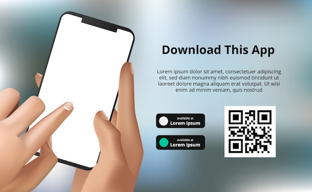 Landing page banner advertising for downloading app for mobile phone, hand holding smartphone with bokeh background. download buttons with scan qr code template