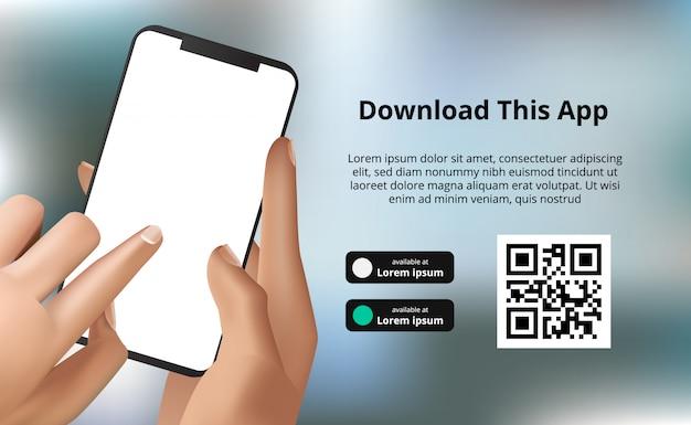 Целевая страница баннерной рекламы для загрузки приложения для мобильного телефона, рука смартфон с фоном боке. скачать кнопки с шаблоном сканирования qr кода