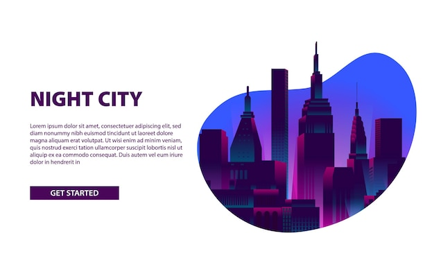 Landing page banner glow neon color city night illustration with skyscraper building at fluid frame