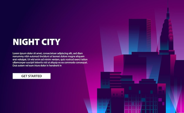 Landing page banner glow neon color city night illustration with skyscraper building with dark background