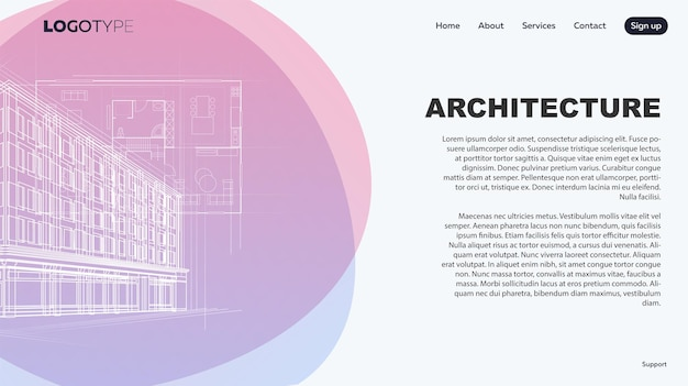 Landing page for banner interior design and architecture concept for an architectural company