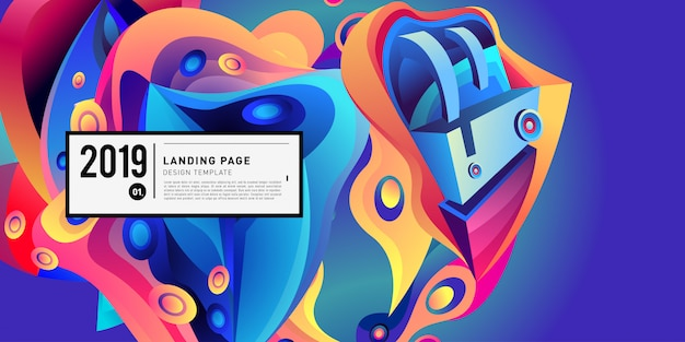 Landing page banner vector design template