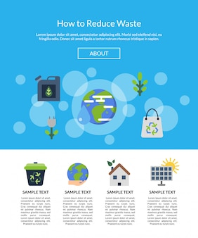 Landing page banner  with ecology flat icons