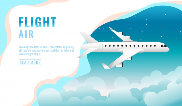 Landing page , banner with flying airliner in sky with clouds, passenger aircraft, plane, tourism concept,