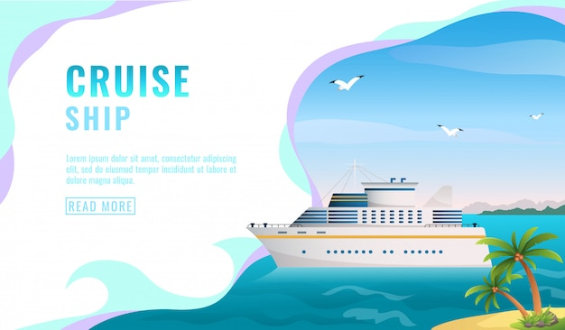 Landing page , banner with liner, cruise ship in water, ocean, island with palm trees, blue sky with gull, tourism concept,