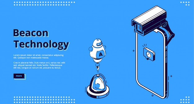 Landing page of beacon technology with smartphone