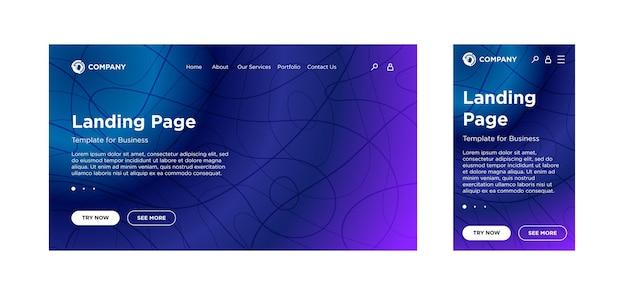 Пустой шаблон целевой страницы для настольного пк и мобильной адаптивной версии с минимальным геометрическим фоном