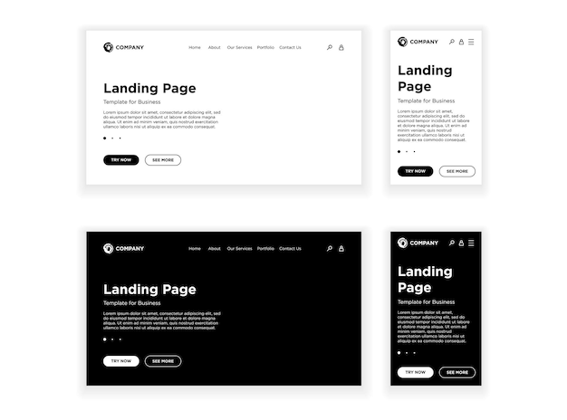 Landing page blank template desktop pc and mobile adaptive version set empty site white and black