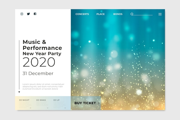 Landing page blurred new year