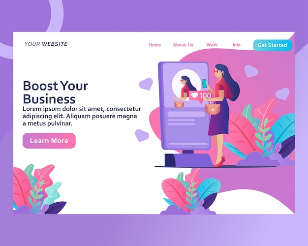 Landing page. boost your social media