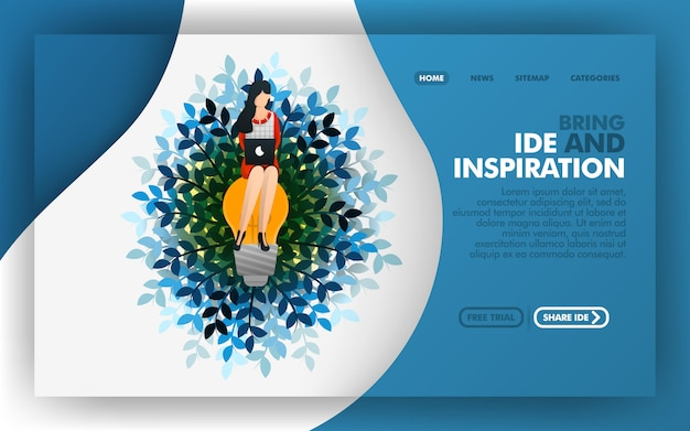 Landing page of bring inspiration and ideas