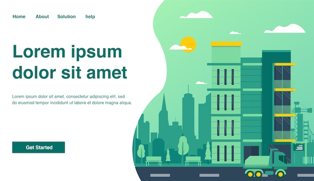 Landing page for building construction