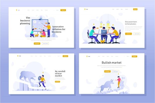 Landing page бизнес и финансы иллюстрация плоский стиль дизайна градиента, стратегическое планирование, обсуждение встречи, медвежий рынок, бычий тренд