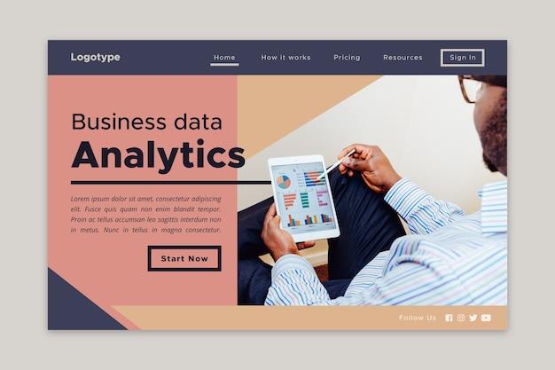Landing page business data analytics