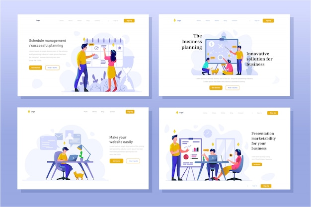 Landing page business and finance illustration flat gradient design style, schedule, strategic planning, work in office, presentation, discussion