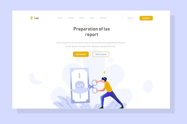Landing page business and finance man doing taxes gradient flat design illustration