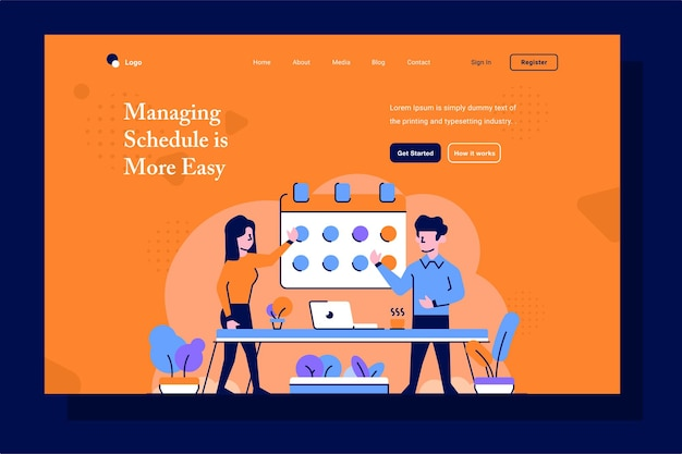 Landing page business and finance managing schedule date calendar flat and outline illustration