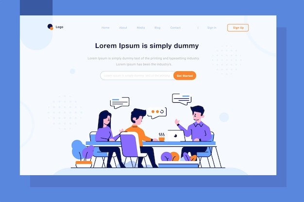 Landing page business finance team discuss meeting solve problems idea flat outline design style