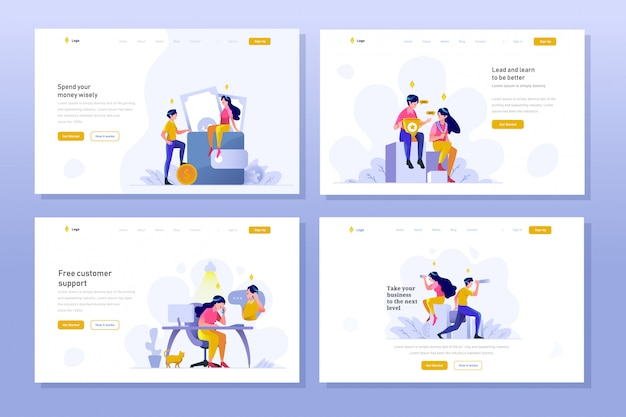 Landing page business and finance vector illustration flat gradient design style, saving money on wallet, winner achievement, customer service, vision, telescope