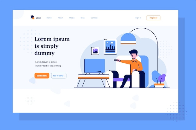Landing page business man relax and watch tv activities holiday off work flat outline design style