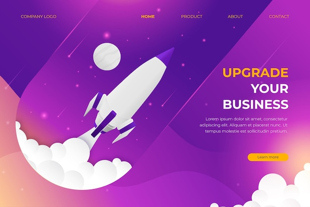 Landing page business upgrade with spaceship in space