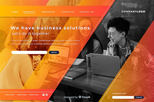 Landing page business with image